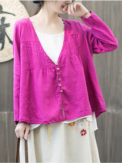 Vintage Pleated Solid Color V-neck Button Long Sleeve Blouse