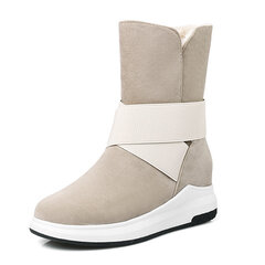Womem Winter Warm Plush Lined Cross Band Platform Snow Boots
