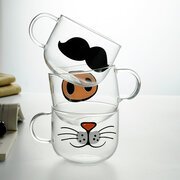 Funny Cat Beard Glass Mug Round Creative Couple Gift Cup Coffee Cup Cute Cat Glass Mug