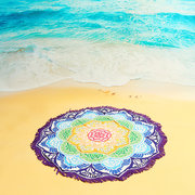 147cm/ 57.9'' Colorful Lotus Flower Tassel Beach Yoga Towel  Round Bed Sheet Tapestry Silk Scarf
