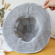 Women's Foldable Cotton And Linen Sun Beach Basin Hat Outdoor Summer Travel Straw Hat