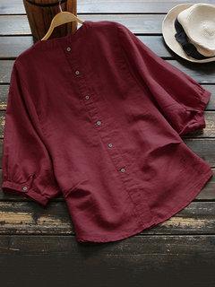 الصلبة اللون بات فقاعة كم الخامس الرقبة Plus حجم القميص