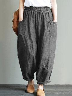 Vintage Solid Color Elastic Waist Pockets Loose Plus Size Pants