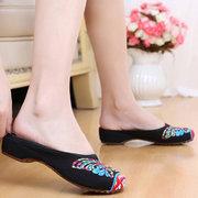 Винтажная плоская обувь с вышивкой без задника национальный стиль