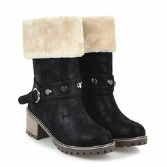 Color Warm Chunky Heel Snow Winter Boots