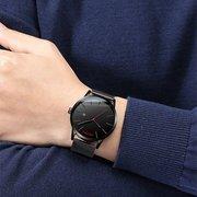 Luxus Herrenuhr Fashion Casual Ultra Thin Wasserdichte Edelstahl Silber Kalender Uhr für Männer