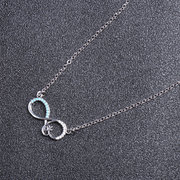 Fashion Silver Necklace Endless Infinity Knot Pendant Bow Knot Rhinestones Necklaces for Women