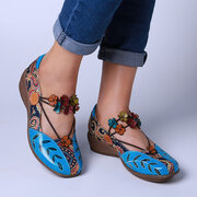 SOCOFY Folkways Pattern Genuine Leather Splicing Jacquard Comfortable Elastic Band Flat Shoes
