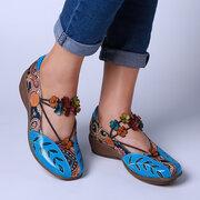SOCOFY Folkways Шаблон Натуральная Кожа Сращивание жаккардовые удобные эластичные туфли Стандарты