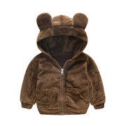 Soft Fleece Boys Girls Hooded Autumn Winter Coats For 1Y-5Y