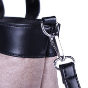 Retro Kraft Paper PU Leather Bucket Handbag Shoulder Bag Crossbody Bag For Women