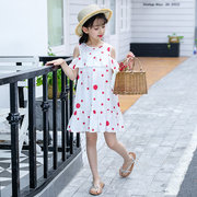 Dot Print Girl Toddler Bambini Off spalla Summer Beach Dress School per 6Y-15Y