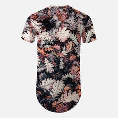 Mens's Abstract 3D Printed Colourful Mid-Length O-neck Short Sleeve Loose T-shirt