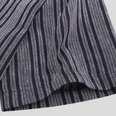 Chemise décontractée respirante à manches courtes pour hommes, 100% coton, rayée