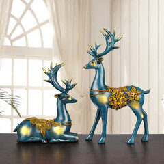 A Couple Of Deer Statue European Style Living Room Bedroom Wine Cabinet Ornaments  Christmas Gifts