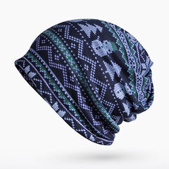 Women Print Stripe Beanie Hats Comfortable Multi-function Scarf Casual Windproof Visor Bonnet Hats