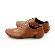 Stitching Driving Flat Lace Up Weave Leather Soft Oxford Shoes