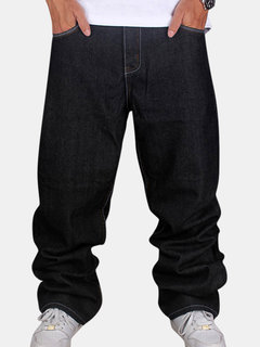 Mens Loose Fashion Slim Fit Pure Color Character Hip-Hop Cotton Jeans