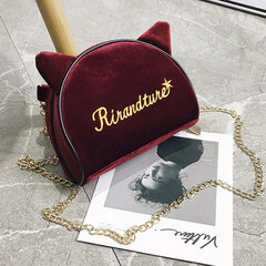 Women Velour Embroidery Square Crossbody Bags Cute Cat Ears Chains Shoulder Bags