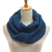 Unisex Winter Warm Infinity 2 Circle Cable Knit Cowl Cuello Long Scarf Shawl