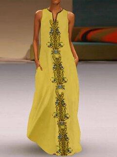 Maxi vestito senza maniche stampa Bohemian Ethnic per le donne
