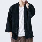 Mens 100% Cotton Ethnic Style Vintage Brief Horn Buttons Three-quarter Sleeve Casual Jacket
