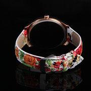 Montre Mode avec Cadran à Coeur et Bracelet Imprimé Fleuri Montre Vintage Fille pour Femme