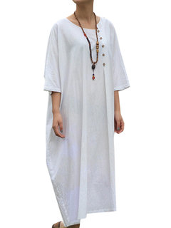 Vintage Pure Color Bouton 3/4 Manches O-cou Femme Robes