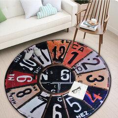 Round Retro Wall Clock Area Rugs Non-slip Mat Carpets for Kitchen/Bathroom Polyester Fiber