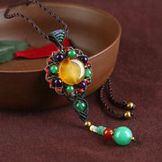 Ethnic Weaving Sweater Necklace Retro Agate Long Style Necklace For Women