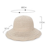 Womens Foldable Hollow Vogue Solid Bucket Cap Wild Breathable Outdoor Travel Sun Straw Hat