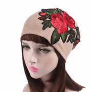 Women's Cashmere Rose Pattern Beanie Cap Breathable Turban Chemotherapy Cap