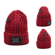 Women Winter Warm Solid Color Knitted Skullies Beanies Hat Windproof Ear Warm With Cashmere Lining