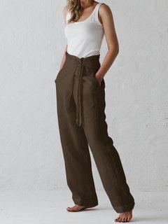 Pantalones holgados de pierna ancha con cintura ancha de Harem