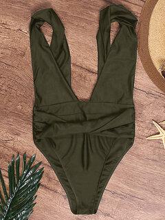Trajes de baño de Monokini del color sólido sin respaldo torcido de la alta cintura del tamaño extra grande atractivo para las mujeres
