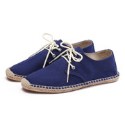 Men Hand Stitching Non Adhesives Linen Flat Lace Up Espadrilles