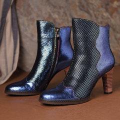 SOCOFY Удобная металлическая текстура вены Натуральная Кожа Высокий каблук с застежкой-молнией Ботинки