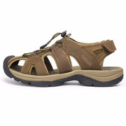 Large Size Men Leather Toe Protecting Adjustable Buckle Hook Loop Outdoor Sandals