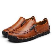 Chaussures en cuir cousues à la main avec fermeture éclair à enfiler