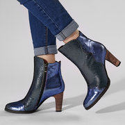 SOCOFY Metal Texture Splicing Veins Comfortable Genuine Leather Zipper High Heel Ankle Boots