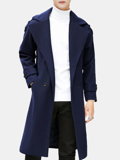Men Winter Warm Slim Thicken Mid Long Coat Trundown Collar Solid Color Long Sleeve Trend Coat