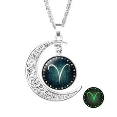 Retro Style Pendant Necklace Luminous 12 Constellation Crescent Necklace Gift For Girl
