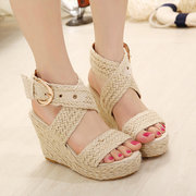 Women Casual Flax Weaven Buckle High Wedges Heel Sandals