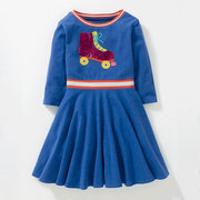 Casual Girls Patchwork Long Sleeve Princess Dress For 3Y-11Y