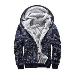 Mens Plus M-6XL Oversize Hooded Geometric Printing Jacket Solid Thicken Zip Up Hoodies