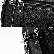 Women Faux Leather Double Layer Crossbody Bags Chain Solid Leisure Shoulder Bags