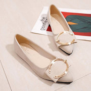 Suede Pointed Toe Slip On Metal Buckle Lady Shoes