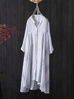 Stripe Casual Loose Loog Sleeve Botton Front Shirt Dress