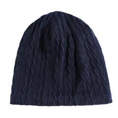 Mens Inverno Cor Sólida Tarja De Malha De Algodão Beanie Cap Earmuffs Quente Ao Ar Livre Casuais Chapéus
