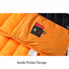 Winter Travel Thicken Warm Lightweight Stand Collar Solid Color Jacket for Men